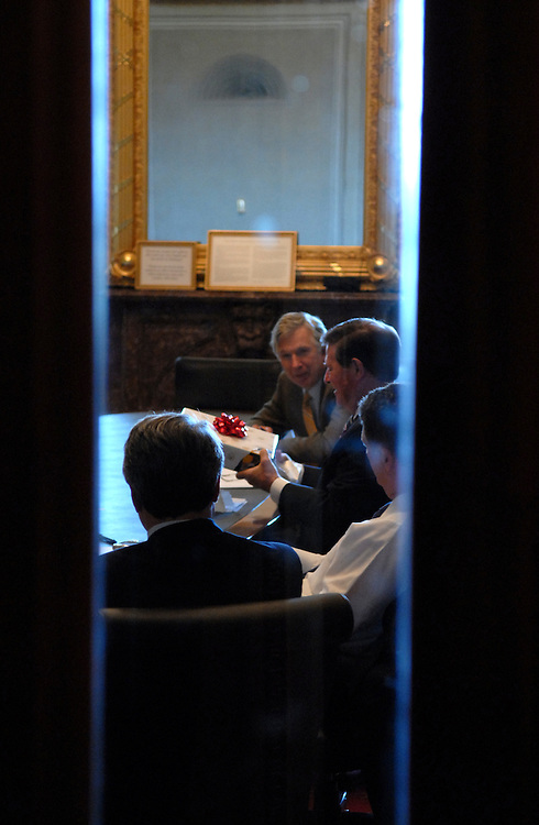 Rep. Tom Delay, R-Texas, receives a gift from the NASA Action Team, Wednesday, in the Capitol.