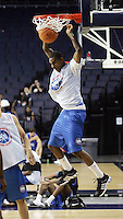 C/F Derrick Favors (Atlanta, GA / South Atlanta) slams the ball during the NBA Top 100 Camp held Thursday June 21, 2007 at the John Paul Jones arena in Charlottesville, Va. (Photo/Andrew Shurtleff)