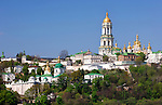 Kievo-pecherskaya lavra - Kiev pechersk lavra - Cave monastery in Kiev Ukraine Eastern Europe Horizontal view from the left bank of the Dnieper river May 2007