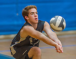 18 September 2015: The Vermont Commons School Flying Turtles boys volleyball team visits the Burlington Seahorses at Burlington High School in Burlington, Vermont. High School Volleyball has been granted exhibition status in the State of Vermont in effort to attain full varsity status. Mandatory Credit: Ed Wolfstein Photo *** RAW (NEF) Image File Available ***