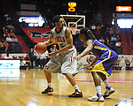 "Ole Miss' Jelan Kendrick (45) vs. LSU's Anthony Hickey (1) at the C.M. ""Tad"" Smith Coliseum in Oxford, Miss. on Saturday, February 25, 2012. (AP Photo/Oxford Eagle, Bruce Newman).."