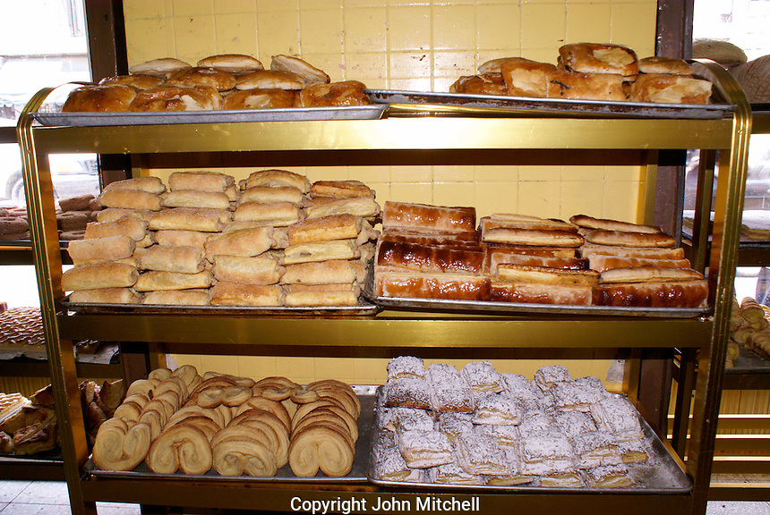 Mexican baked goods in a panaderia or bakery in Puebla, Mexico. The historical center of Puebla is a UNESCO World Heritage Site.