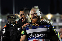 Leroy Houston and Ross Batty of Bath Rugby have a laugh after the match. West Country Challenge Cup match, between Bath Rugby and Gloucester Rugby on September 26, 2015 at the Recreation Ground in Bath, England. Photo by: Patrick Khachfe / Onside Images