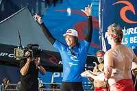 BELLS BEACH, Victoria/AUS (Wednesday, April 19, 2017) - Jordy Smith (ZAF) has won The Rip Curl Pro Bells Beach, the third stop of the World Surf League (WSL) Championship Tour (CT). He defeated Caio Ibelli (BRA)in the 35 minute final.   Competitors  faced challenging six-to-eight foot waves (2 - 2.5 metre) at the Bells Bowl thought the day.<br /> Caio Ibelli (BRA) had defeated John John Florence (HAW) in the first semi final while Smith had defeated tour rookie Ezekiel Lau (HAW) in the second. Florence retains the ratings lead.<br /> Location:   Bells Beach, Victoria, Australia<br /> Event window:April 12 - 24, 2017<br /> Today's call:Men's Round 4 called ON<br /> Conditions:6 - 8 foot (2 - 2.5 metre)<br /> <br /> Photo: joliphotos.com