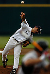 06/17/2006 Sweat drips from Rice starting pitcher Eddie Degerman during the first inning of game 3 of the College World Series in Omaha Nebraska Saturday afternoon..(photo by  Chris Machian/Prairie Pixel Group)