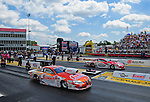 May 6, 2012; Commerce, GA, USA: NHRA  pro stock driver Jason Line (near lane) races alongside Ronnie Humphrey during the Southern Nationals at Atlanta Dragway. Mandatory Credit: Mark J. Rebilas-