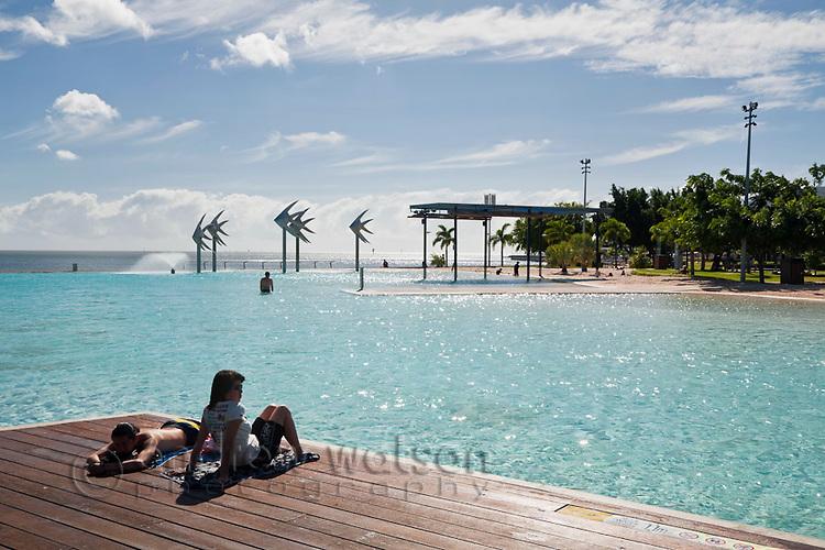 Swimmers at the Esplanade Lagoon.  Cairns, Queensland, Australia