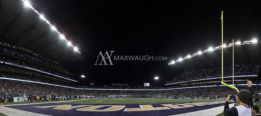 Washington fans light up Husky Stadium with their cell phones.