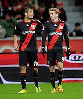 FUSSBALL   1. BUNDESLIGA   SAISON 2011/2012    15. SPIELTAG Bayer 04 Leverkusen - 1899 Hoffenheim                  02.12.2011 Eren Derdiyok (li) und Andre Schuerrle (re, beide Bayer 04 Leverkusen)