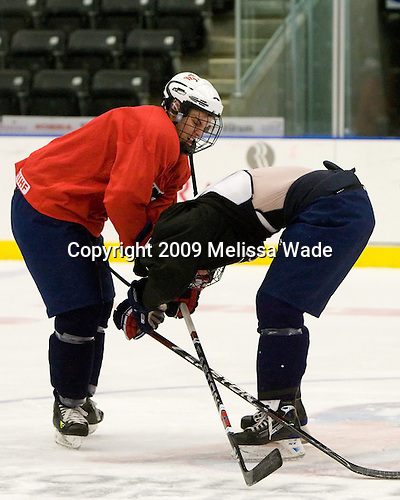 Jeremy Morin (US - 11), Cam Fowler (US - 4) - The US practiced the morning of Sunday, April 19, 2009, prior to their gold medal game against Russia in the 2009 World Under 18 Championship at the Urban Plains Center in Fargo, North Dakota.