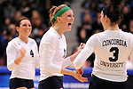 03 DEC 2011:  Megan Carlson (1) of Concordia University St. Paul celebrates a point against Cal State San Bernardino during the Division II Women's Volleyball Championship held at Coussoulis Arena on the Cal State San Bernardino campus in San Bernardino, Ca. Concordia St. Paul defeated Cal State San Bernardino 3-0 to win the national title. Matt Brown/ NCAA Photos