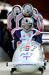 20 November 2005: Alexandr Zoubkov leads the Russia 1 sled pushoff in the first run of the 2005 FIBT AIT World Cup Men's 4-Man Bobsleigh Tour, piloting the team to a first place, gold medal finish at the Verizon Sports Complex, in Lake Placid, NY. Mandatory Photo Credit: Ed Wolfstein.