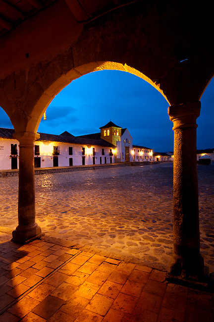 Colombia, Villa de Leyva, Boyaca Province, Colonial Town, National Monument, Plaza Mayor, Largest Plaza In The Country, Iglesia Parroquial, Dawn