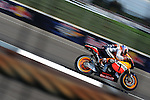 Honda Repsol's Casey Stoner on his way to winning the 2011 Red Bull Indianapolis Moto Grand Prix at Indianapolis Motor Speedway.