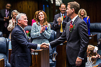 TALLAHASSEE, FLA. 11/18/14-ORGSESS111814CH-Senate President Andy Gardiner, R-Orlando, right, shakes hands with Senate Pro Temp Garrett Richter, R-Naples, during the Organizational Session of the legislature, Nov. 18, 2014 at the Capitol in Tallahassee.<br /> <br /> COLIN HACKLEY PHOTO