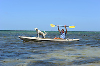 Pig Pine Kayak Adventures, Besitzer und Tourguide Bill Keogh, Florida Keys Kayaking and Kayak Tours, Big Pine Keys..Im Bild: Bill Keogh (Pig Pine Kayak Adventures) und sein Hund vor Mangrovenwald..Florida 2009..Foto © Stefan Falke.