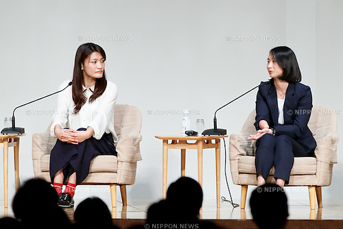 (L to R) Rio Olympic wrestling gold medalist Kaori Icho and Rio Paralympic track and field bronze medalist Sae Tsuji attend the World Assembly for Women : WAW! 2016 on December 13, 2016, Tokyo, Japan. Female leaders from politics, business, sports and society are attending WAW! 2016 to discuss the roles of women in their countries and affiliations. Japan is trying to increase the participation of women in work and Abe's administration set a goal of increasing the share of women in management roles to 30 percent by 2020. WAW! 2016 is being held from December 13 to 14 at the Grand Prince Hotel New Takanawa in Tokyo. (Photo by Rodrigo Reyes Marin/AFLO)