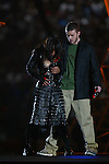 Justin Timberlake removes part of Janet Jackson's outfit to partially expose her breast during the half time show at Super Bowl XXXVIII in Houston, TX on February 1, 2004