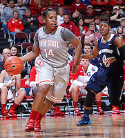 Ohio State Buckeyes guard Ameryst Alston (14) evades Old Dominion Lady Monarchs guard Stephanie Gardner (0) during Friday's NCAA Division I basketball game at Value City Arena in Columbus on November 22, 2013. Ohio State won the game 75-60. (Barbara J. Perenic/The Columbus Dispatch)