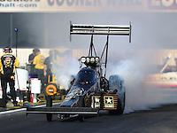 Nov 11, 2016; Pomona, CA, USA; NHRA top fuel driver Tony Schumacher during qualifying for the Auto Club Finals at Auto Club Raceway at Pomona. Mandatory Credit: Mark J. Rebilas-USA TODAY Sports