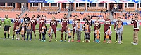 Houston, TX - Friday December 9, 2016: Denver Pioneers prior to the game with the Wake Forest Demon Deacons at the NCAA Men's Soccer Semifinals at BBVA Compass Stadium in Houston Texas.