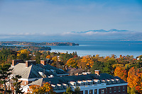 View of the Waterman Building and Lake Champlain, Fall UVM Campus