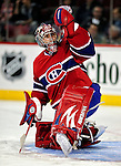 17 October 2009: Montreal Canadiens goaltender Carey Price warms up prior to facing the Ottawa Senators at the Bell Centre in Montreal, Quebec, Canada. The Senators defeated the Canadiens 3-1. Mandatory Credit: Ed Wolfstein Photo