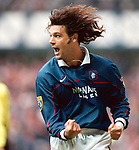 Marco Negri celebrates scoring against Motherwell at Ibrox, 1997
