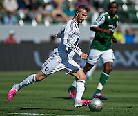 CARSON, CA - June 17, 2012: LA Galaxy midfielder David Beckham (23) during the LA Galaxy vs Portland Timbers match at the Home Depot Center in Carson, California. Final score LA Galaxy 1, Portland Timbers 0.