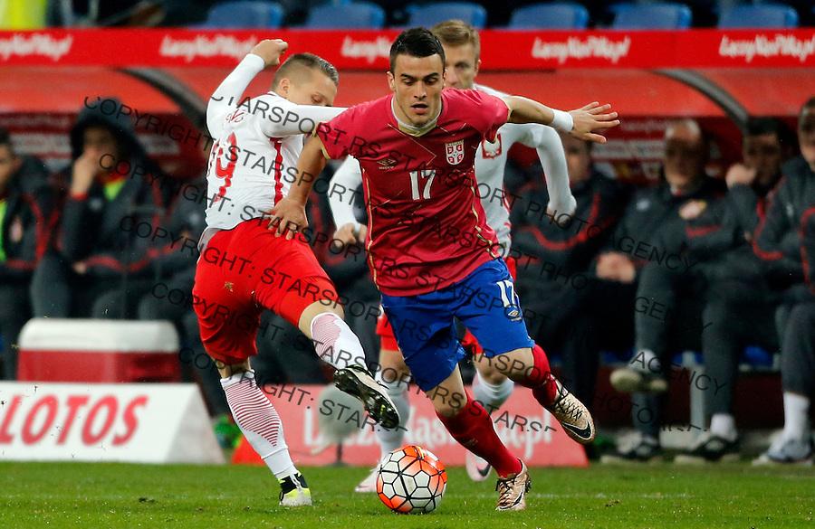Filip Kostic Poljska - Srbija prijateljska, Poland - Serbia friendly football match, March 23. 2016. Poznan  (credit image & photo: Pedja Milosavljevic / STARSPORT)
