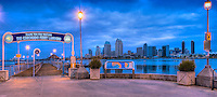 San Diego California, Downtown, Skyline, Twilight, Panorama High dynamic range imaging (HDRI or HDR)