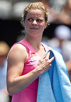Kim Clijsters (BEL) (3) against Alexandra Dulgheru in the first round of the women's singles. Kim Clijsters beat Alexandra Dulgheru 6-1 6-2..International Tennis - Medibank International Tournament - Olympic Park - Sydney - Day 1 - Sun 9th January 2011..© Frey - AMN Images, Level 1, Barry House, 20-22 Worple Road, London, SW19 4DH.Tel - +44 208 947 0100.Email - Mfrey@advantagemedianet.com.Web - www.amnimages.photshelter.com