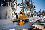 A snowblower works to clear record early season snowfall in Soda Springs, Calif., January 6, 2011. California has already received 80% of its normal annual precipitation in the first two months of a rainy season that lasts another four months..CREDIT: Max Whittaker for The Wall Street Journal.CALWATER