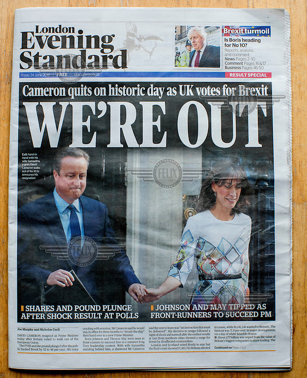 The front cover of the Evening Standard newspaper announcing the result of the EU referendum on 24 June 2016, the day following the vote.