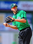 2 July 2011: Vermont Lake Monsters' third baseman Chad Lewis warms up prior to a game against the Tri-City ValleyCats at Centennial Field in Burlington, Vermont. The Lake Monsters rallied from a 4-2 deficit to defeat the ValletCats 7-4 in NY Penn League action. Mandatory Credit: Ed Wolfstein Photo