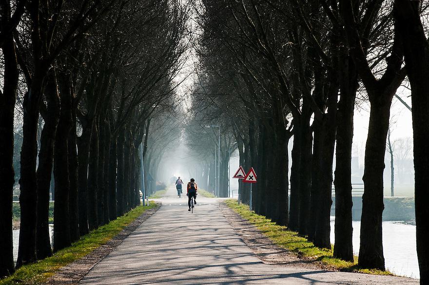 Nederland, Beemster,  17 maart 2015<br /> Polder de Beemster. Cultureel erfgoed van de Unesco. Polder met zeer lange, kaarsrechte wegen. <br /> Foto: (c) Michiel Wijnbergh