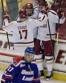 Destry Straight (BC - 17), Bill Arnold (BC - 24), Kevin Hayes (BC - 12) - The Boston College Eagles defeated the visiting University of Massachusetts Lowell River Hawks 6-3 on Sunday, October 28, 2012, at Kelley Rink in Conte Forum in Chestnut Hill, Massachusetts.