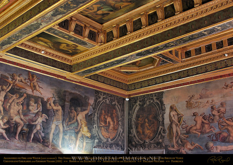 Vulcan's Forge Birth of Venus Vasari Gherardi Room of the Elements Apartment of the Elements Palazzo Vecchio Florence