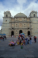 Balloon sellers in front of the Oaxaca cathedral, Oaxaca city, Mexico