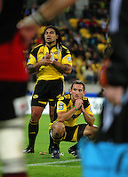 Hurricanes backs Ma'a Nonu and Aaron Cruden wait for the TMO to award a try to the Crusaders after the final hooter during the Super 14 rugby match between the Hurricanes and Crusaders at Westpac Stadium, Wellington, New Zealand on Friday, 2 April 2010. Photo: Dave Lintott / lintottphoto.co.nz