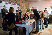 US actor John de Lancie (3rd L) attends an autograph session during a meeting with his fans in Budapest, Hungary on January 11, 2015. ATTILA VOLGYI