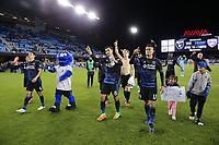 San Jose, CA - Saturday April 08, 2017: Chris Wondolowski, Darwin Ceren salutes the fans after a Major League Soccer (MLS) match between the San Jose Earthquakes and the Seattle Sounders FC at Avaya Stadium.
