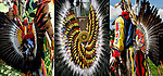Triptych of Native American fancy dancers bustle regalia at the Thunderbird Powwow at the Queens County Farm Museum.<br /> <br /> Example of ethnic pride, heritage, celebration, and traditional folk art crafts.<br /> <br /> The Native American bustle is a traditional part of a man's regalia worn during a dance exhibition or pow wow and originates from the Plains region of the United States. The men's bustle is typically made of a string of eagle or hawk feathers attached to a backboard. Eagle and hawk feathers are sacred religious objects to Native American people and the possession of eagle and hawk feathers are protected by the eagle feather law.<br /> <br /> The traditional bustle or &quot;old-style&quot; bustle, being circular.  Fancy dancers generally wear two bustles, one attached to a belt above the buttocks and another attached to a harness on the back.<br /> <br /> <br /> Bustle Regalia - GOR-86452-11cE<br /> Regalia Bustle - GOR-19521cE<br /> Bustle Regalia - GOR-46617-07