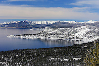 24 February 2008: Overview of the lake after a late winter storm in Lake Tahoe, Truckee Nevada California border in the Sierra Nevada Mountains.