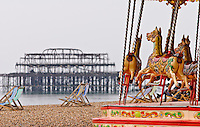Carousel on Brighton Beach, Brighton, East Sussex, Britain - 2010