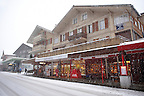 Grindelwald town in the winter snow. Ski resort - Swiss Alps