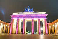 The Brandenberg gate Berlin, at the festival of light, showing the gate in red light