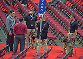Security dogs and their handlers on the floor as they prepare for the security sweep at the Quicken Loans Arena, site of the 2016 Republican National Convention on Saturday, July 16, 2016.<br /> Credit: Ron Sachs / CNP<br /> (RESTRICTION: NO New York or New Jersey Newspapers or newspapers within a 75 mile radius of New York City)