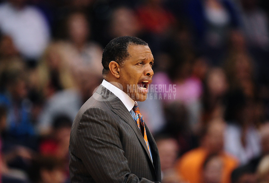 Mar. 30, 2011; Phoenix, AZ, USA; Phoenix Suns head coach Alvin Gentry reacts in the third quarter against the Oklahoma City Thunder at the US Airways Center. The Thunder defeated the Suns 116-98. Mandatory Credit: Mark J. Rebilas-