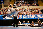 LA CROSSE, WI - MARCH 11: Nathan Pike of NYU did a back flip after beating Jay Albis of Johnson & Wales in the 133 weight class during NCAA Division III Men's Wrestling Championship held at the La Crosse Center on March 11, 2017 in La Crosse, Wisconsin. Pike beat Albis with a fall to win the National Championship. (Photo by Carlos Gonzalez/NCAA Photos via Getty Images)